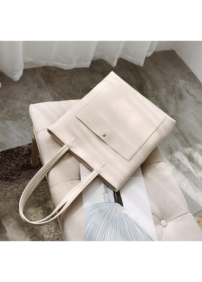 Túi tote da trơn đeo vai có ngăn ngoài tiện lợi