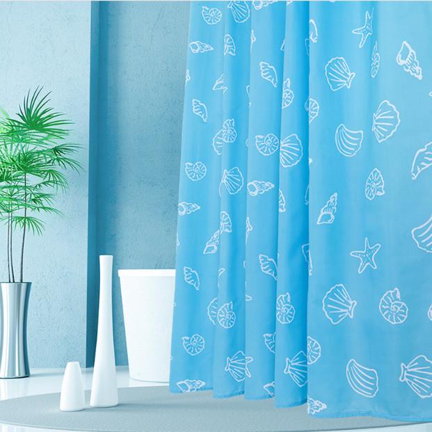 Rèm Phòng Tắm / Rèm Cửa Sổ Xanh Họa Tiết Vỏ Sò 180cm X 180cm Loại 1