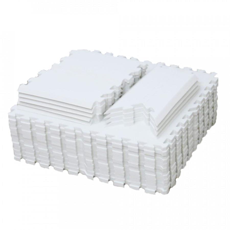 Bộ 48 tấm thảm xốp EVA AgileJapan Nhật Bản dành cho bé (Màu trắng) - Tặng kèm Khăn vệ sinh răng miệng cho bé Pigeon