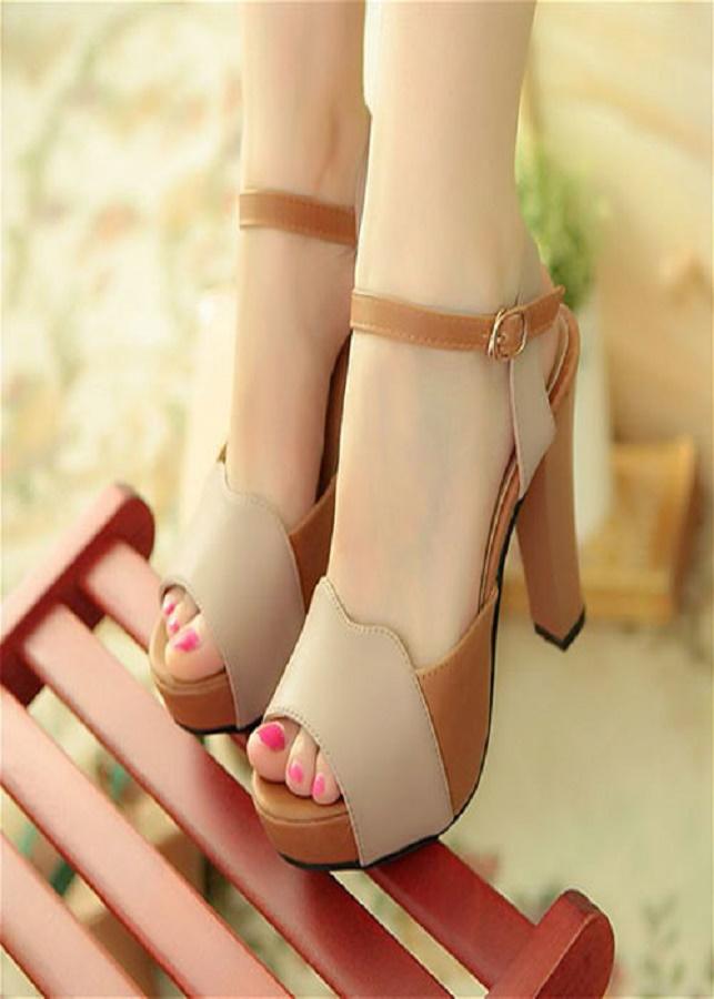 Giày cao gót H.Q phối màu quý phái - CG1015