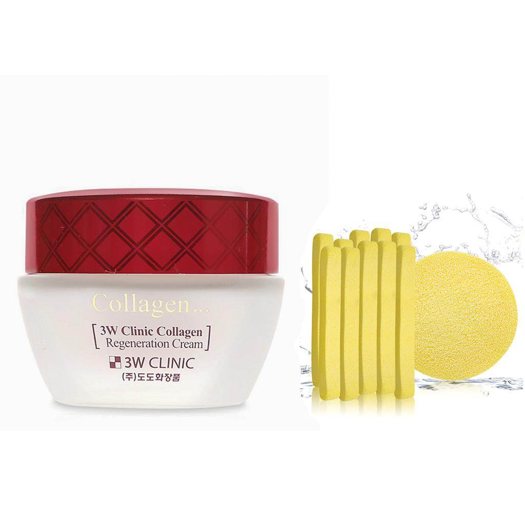 Kem Chống Lão Hóa Dưỡng Trắng Da Hàn Quốc Cao Cấp 3W Clinic Collagen Regeneration Cream (60ml)+ Tặng Bông Bọt Biển Massage... - 15639306 , 8465909383630 , 62_26210447 , 185000 , Kem-Chong-Lao-Hoa-Duong-Trang-Da-Han-Quoc-Cao-Cap-3W-Clinic-Collagen-Regeneration-Cream-60ml-Tang-Bong-Bot-Bien-Massage...-62_26210447 , tiki.vn , Kem Chống Lão Hóa Dưỡng Trắng Da Hàn Quốc Cao Cấp 3W