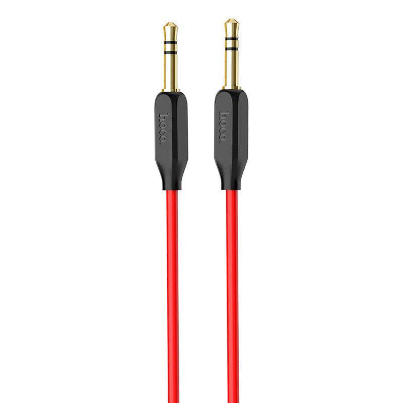 Cáp 2 đầu 3.5mm kết nối âm thanh AUX Hoco UPA11 - Đỏ đen - Dài 1M