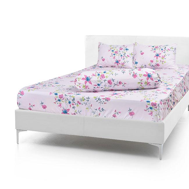 Bộ Drap Cotton Vải Thắng Lợi Áo Gối Chần Gòn 1,8x 2m hoa rơi hồng
