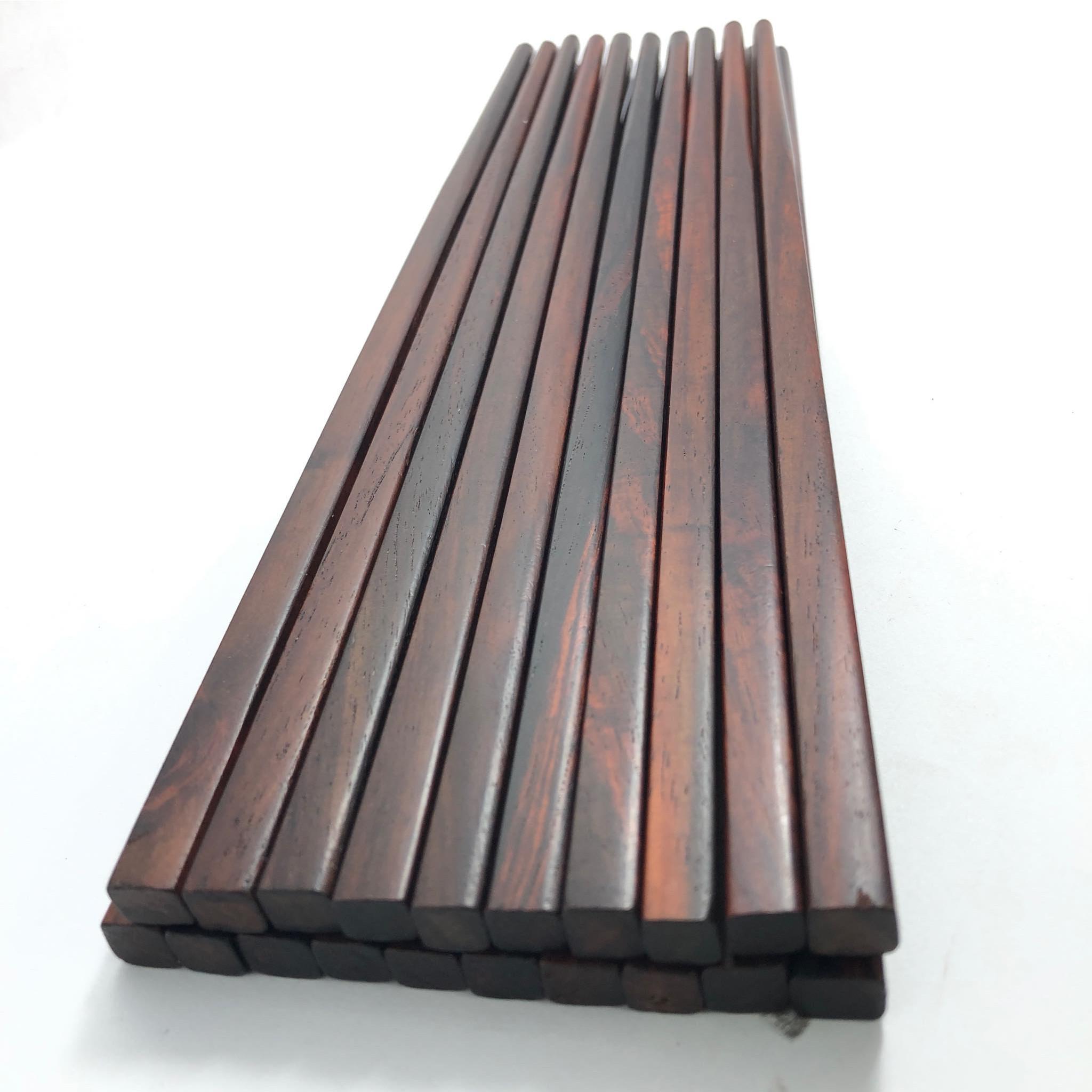 Hộp  Đũa ăn gỗ Trắc Trơn tự nhiên đầu vuông 10 đôi