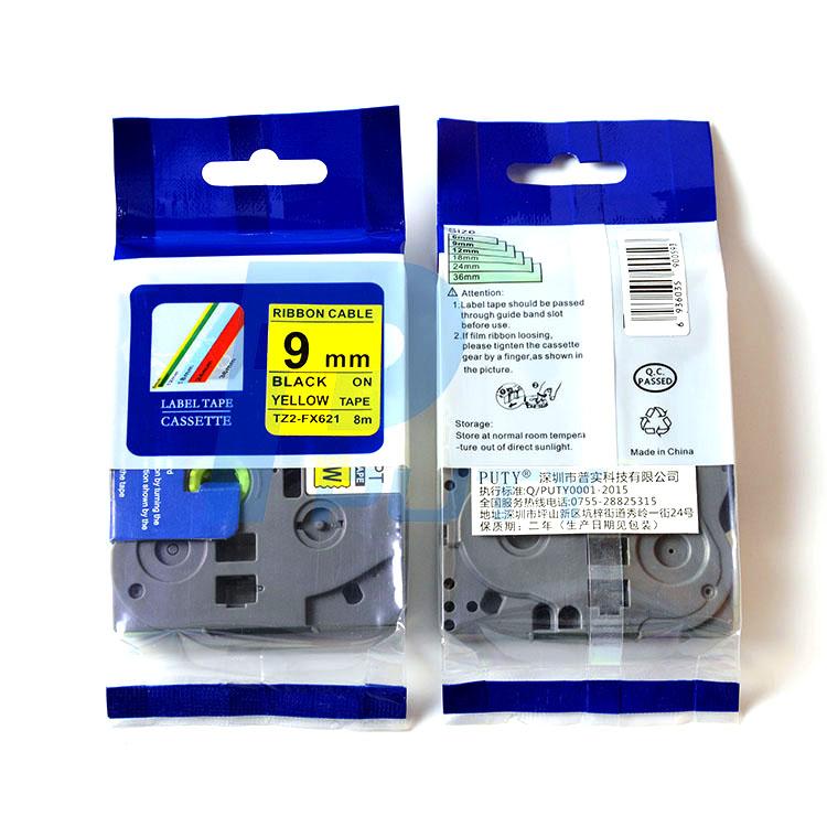 Nhãn in siêu dẻo TZ2-FX621, khổ 9mm x 8m, chữ đen nền vàng, dùng cho máy in nhãn Brother