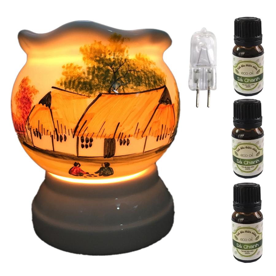 Đèn xông tinh dầu size L  AH07 và 3 tinh dầu sả chanh Eco 10ml và 1 bóng đèn
