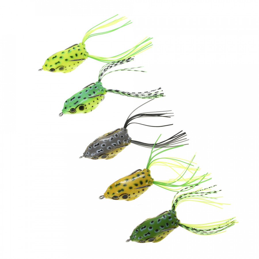 Lixada 5PCS 4.5cm 6g Fishing Lure Set with Tackle Box Including Plastic Soft Lures