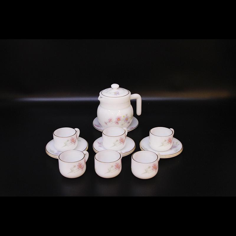 Bộ ấm trà Thủy tinh ngọc MP USA Homeset P3066OPLSL hoa hồng