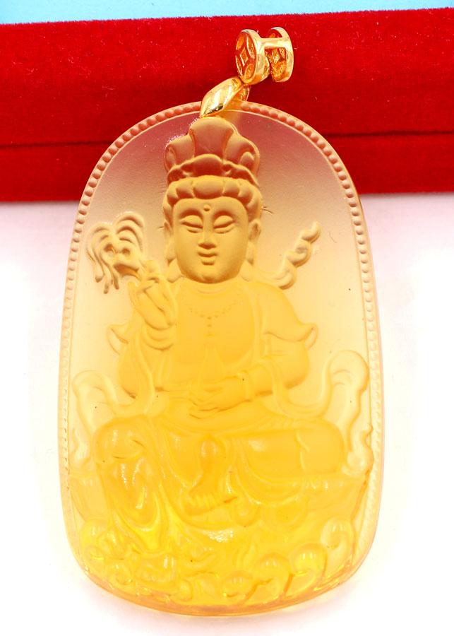Mặt dây chuyền Phật Quan âm Pha lê vàng MQAFV2 - Đem lại bình an, may mắn, thuận lợi trong công việc