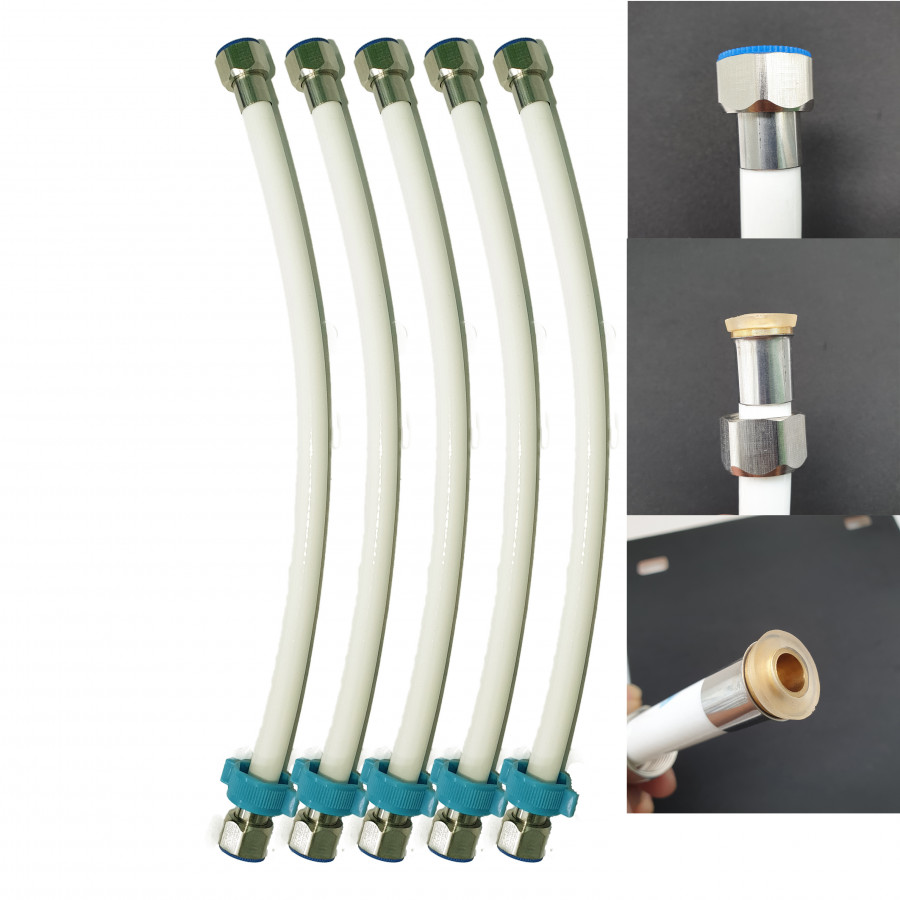 Bộ 5 dây cấp nước nhựa trắng sứ 4 tấc