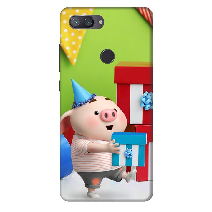 Ốp lưng nhựa cứng nhám dành cho Xiaomi Mi 8 Lite in hình Heo Con Mừng Sinh Nhật