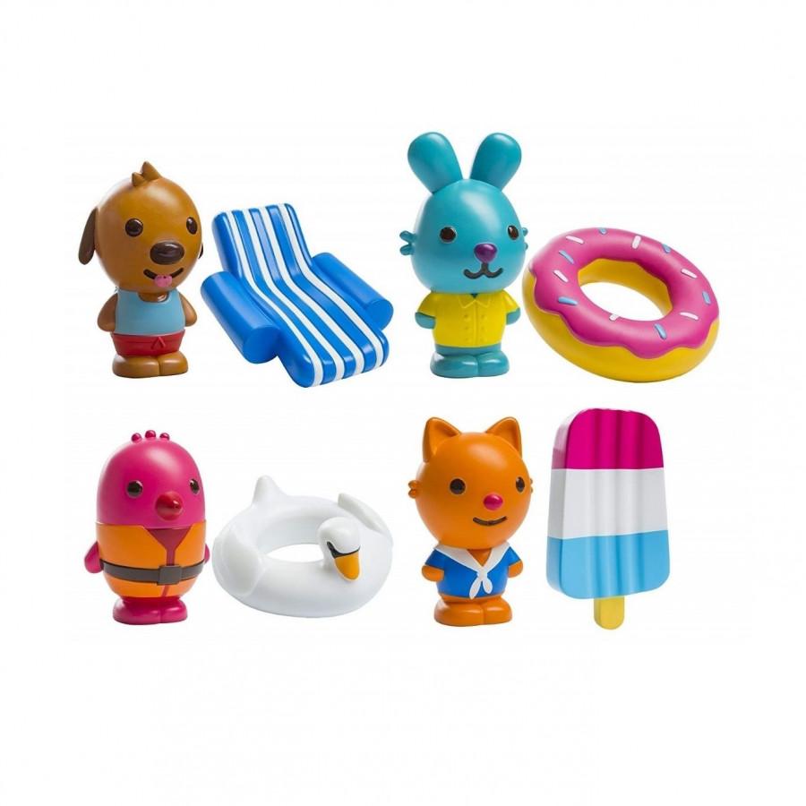Bộ 8 món mô hình chó, mèo, chim và thỏ phun nước dễ thương