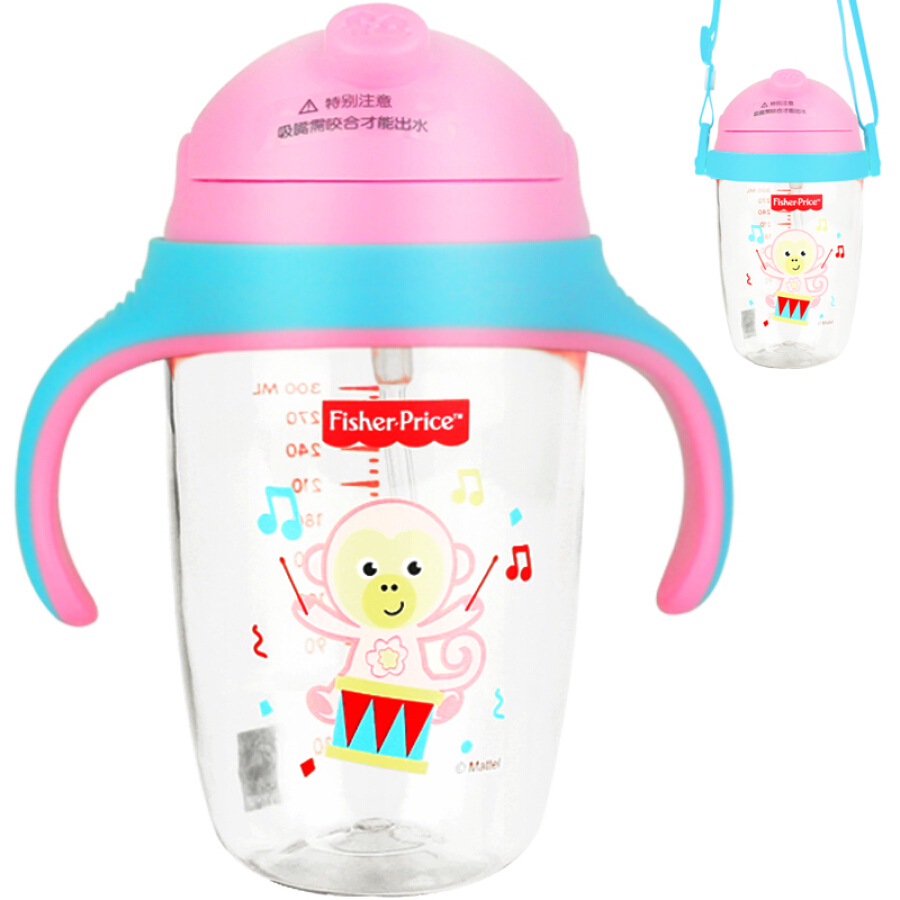 United States Fisher baby sippy cup PPSU children with handle leak-proof drinking water cup strap water bottle (dual use) 240ML pink