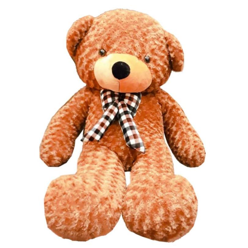 Gấu bông teddy 1m3 nâu vàng nơ kẻ lông xoáy 3 chiều cao cấp