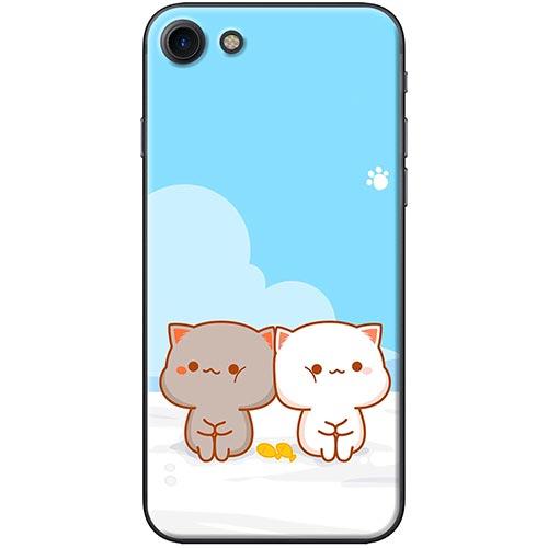 Ốp Lưng Hình Mèo Mập Nền Xanh Dành Cho iPhone 7 / 8