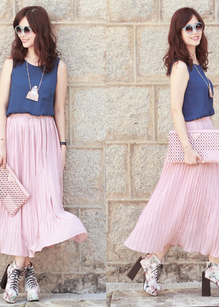 Chân váy maxi voan dập ly màu hồng