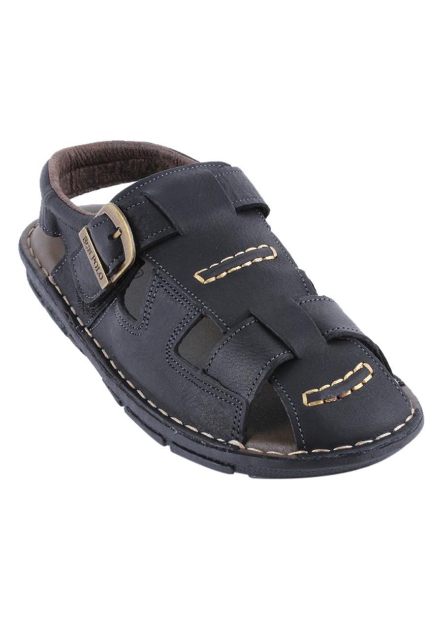 Giày Sandal Nam Da Bò Cao Cấp SUNPOLO SUSDA19D - Đen