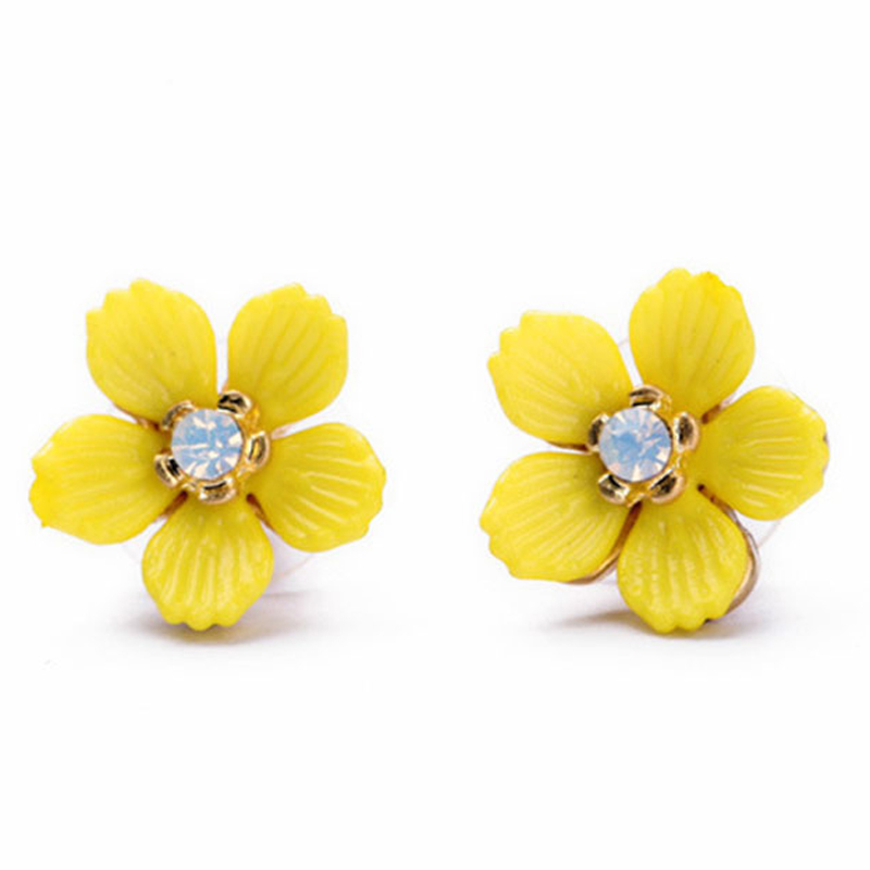 Stud Earrings Eardrop Fashion Gifts Women Ear Stud Yellow A Pair Accessories Beauty Jewelry Party