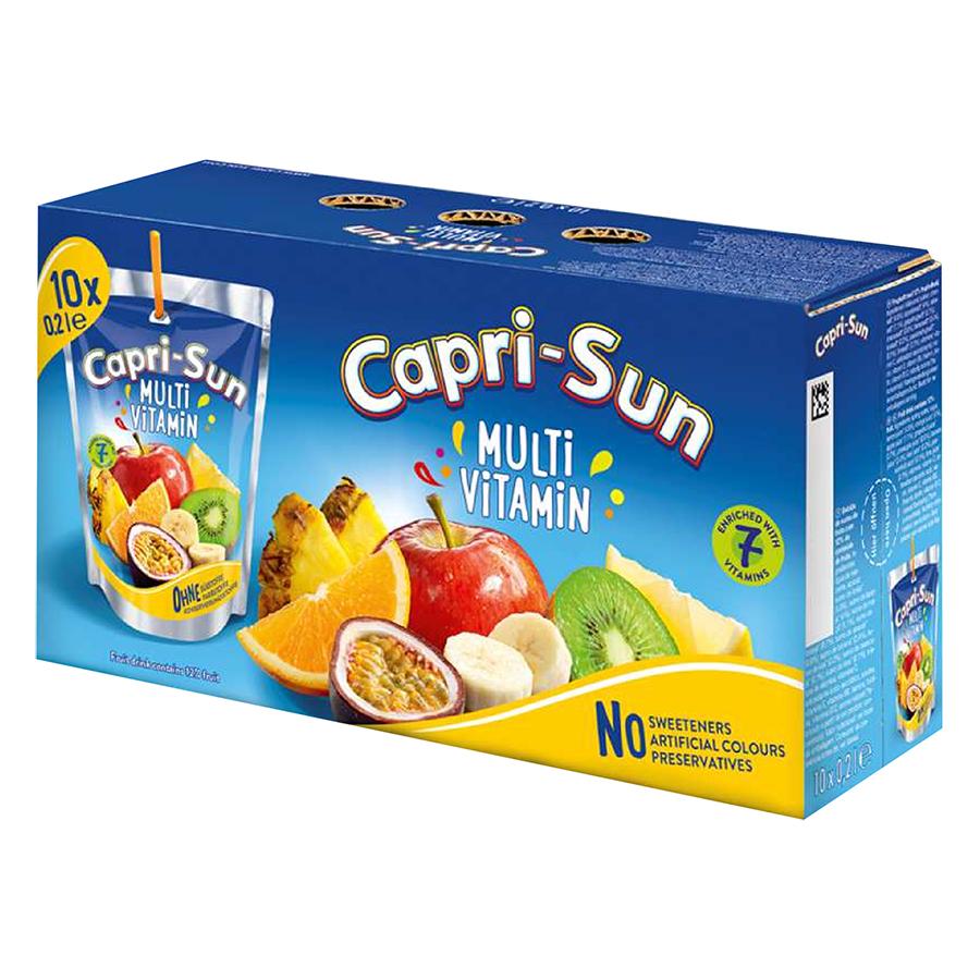 Thùng Nước Trái Cây Capri Sun Vị Multivitamin (200ml x 10)