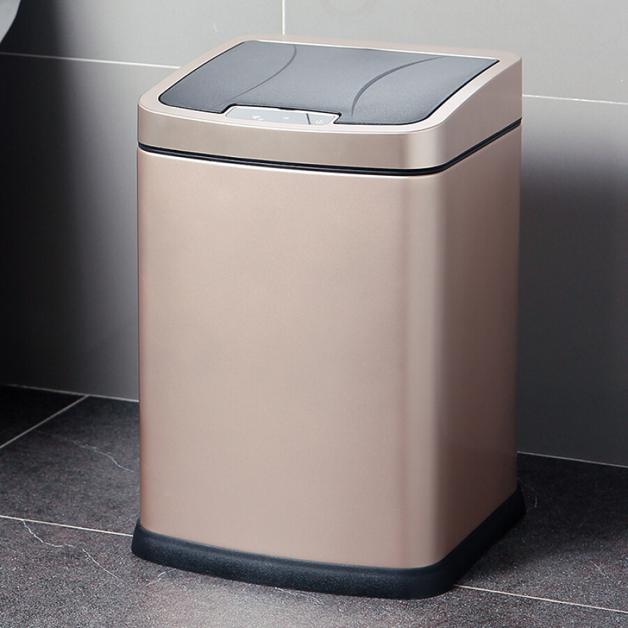 Ou Runzhe intelligent sensor trash thick just free pedal automatic switch household health barrels champagne gold 9 liters