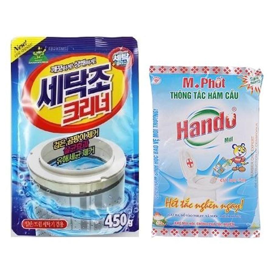 Combo gói bột tẩy vệ sinh lồng máy giặt Hàn Quốc 450g Kèm Gói bột M.Phốt Hando 300g - 997437 , 1417478748829 , 62_8048530 , 130000 , Combo-goi-bot-tay-ve-sinh-long-may-giat-Han-Quoc-450g-Kem-Goi-bot-M.Phot-Hando-300g-62_8048530 , tiki.vn , Combo gói bột tẩy vệ sinh lồng máy giặt Hàn Quốc 450g Kèm Gói bột M.Phốt Hando 300g