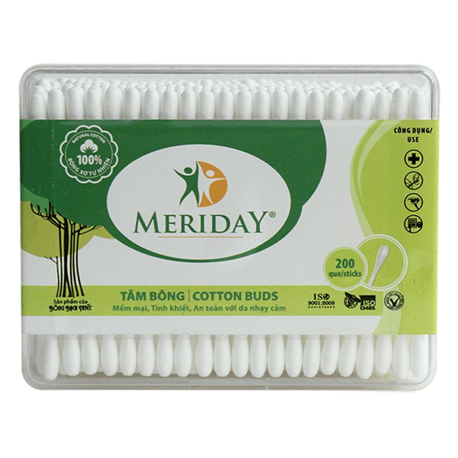 Tăm Bông Meriday Bông Bạch Tuyết TP148 (200 Que)