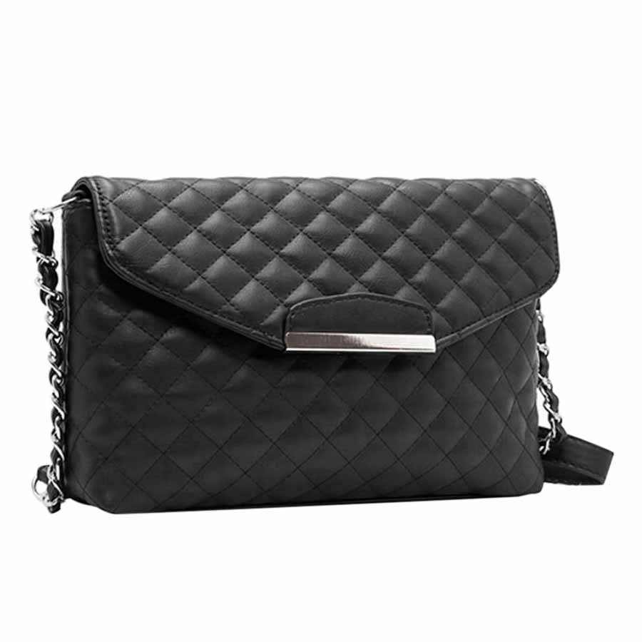Vintage Women Quilted Shoulder Bag PU Leather Flap Front Crossbody Envelope Bag Clutch