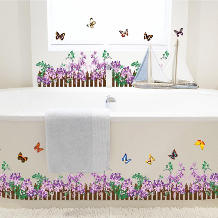 Decal trang trí dán chân tường hàng rào hoa đầy màu sắc cho bé AY756