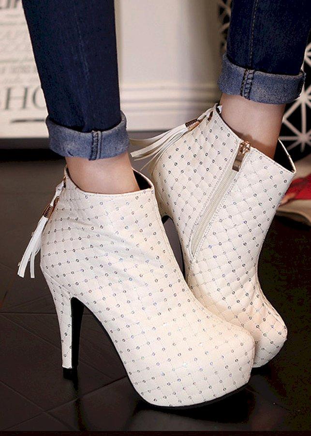 Giày cao gót bít chân dây kéo viền cực lạ - 113