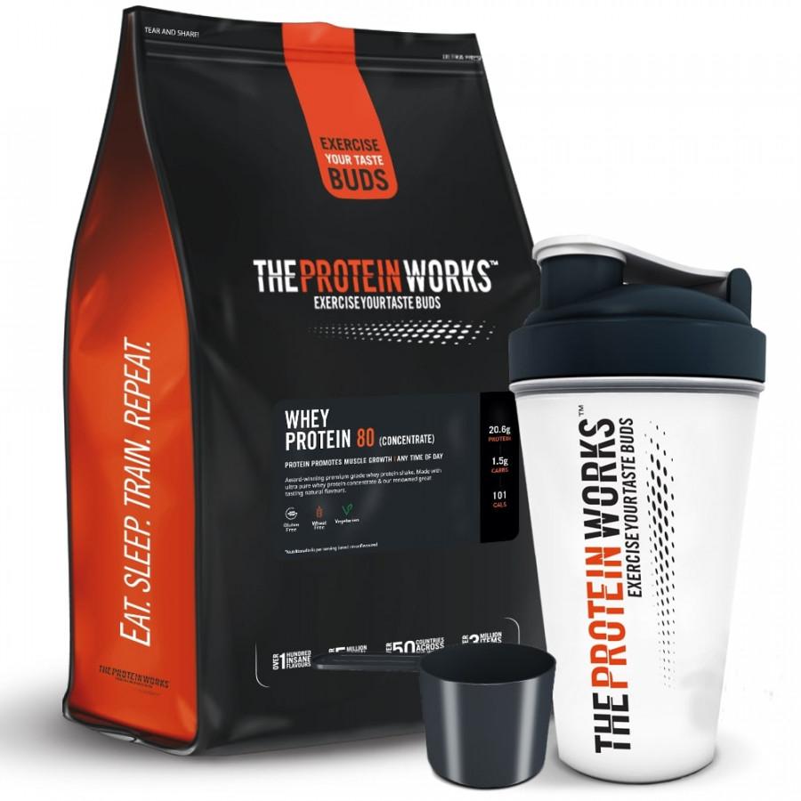 Combo Sữa tăng cơ vị kẹo bơ - Whey Protein 80 (Concentrate) - The protein works - 1kg 40 lần dùng  Bình lắc 700 ml