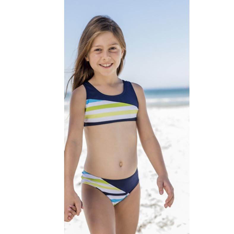 Bikini bé gái  xanh đậm sọc chéo