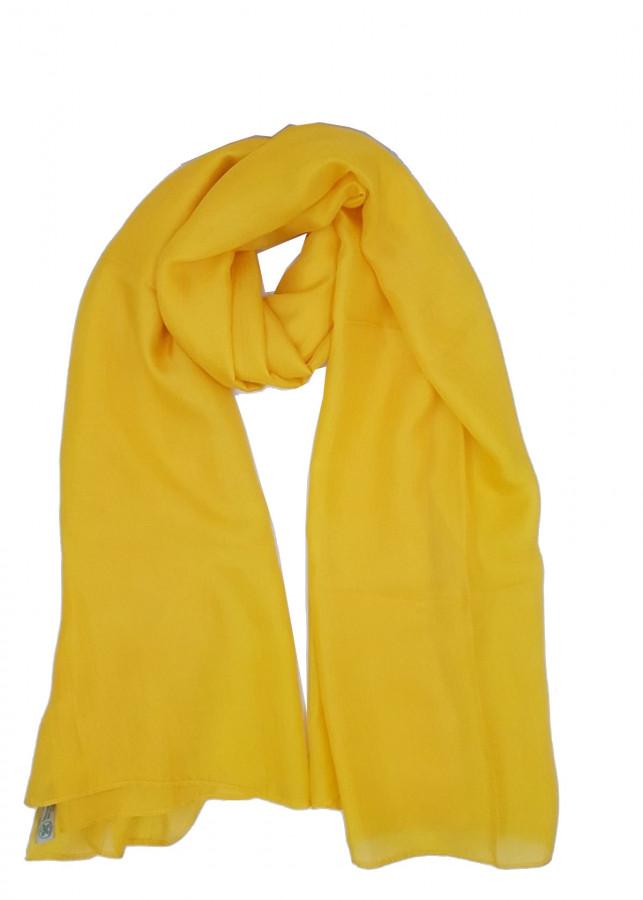 Khăn choàng lụa tơ tằm 100% - màu vàng - NXKL007