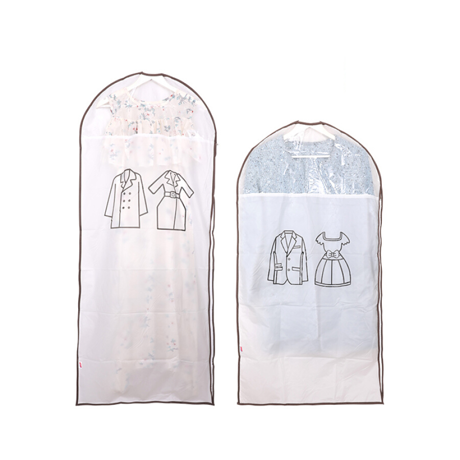 Too thick thick coat dust cover frosted transparent washable suit dust bag household storage bag 2 sets (1 large 1)
