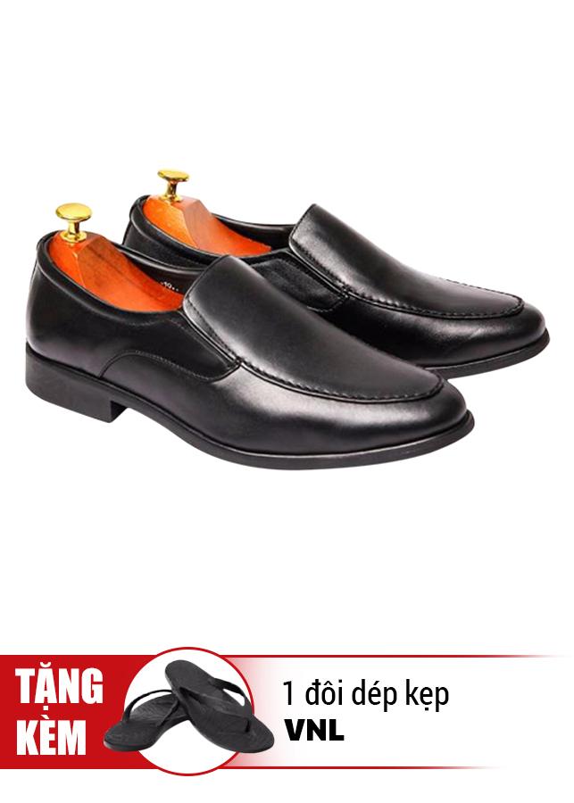Giày Tăng Chiều Cao Da Thật VNL VNL0ALZD00D-QTDK - Đen + Tặng 1 Đôi Dép Kẹp (Size Ngẫu Nhiên)