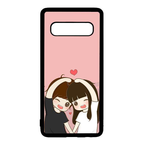 Ốp lưng điện thoại dành cho Samsung S10 Plus Anime Couple Nháy Mắt