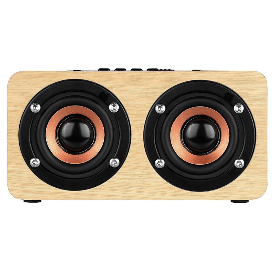 W5 Red Wood Grain Bluetooth Speaker Bluetooth 4.2 Dual Louderspeakers Super Bass Subwoofer HandsFree With Mic 3.5mm