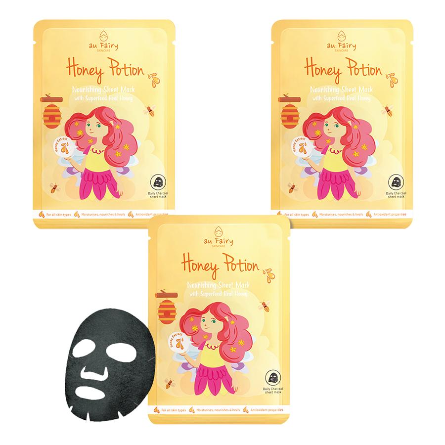 Combo 3 Mặt Nạ Đen Au Fairy Mật Ong Dưỡng Da (25ml)