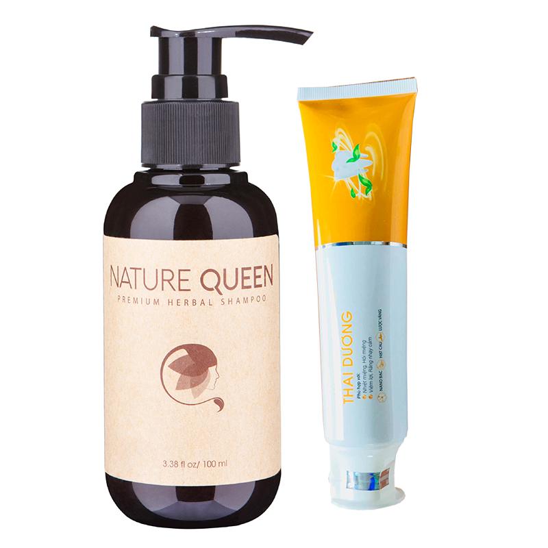 DẦU GỘI Nature Queen 100ml trị rụng tóc - Tặng Kem đánh răng