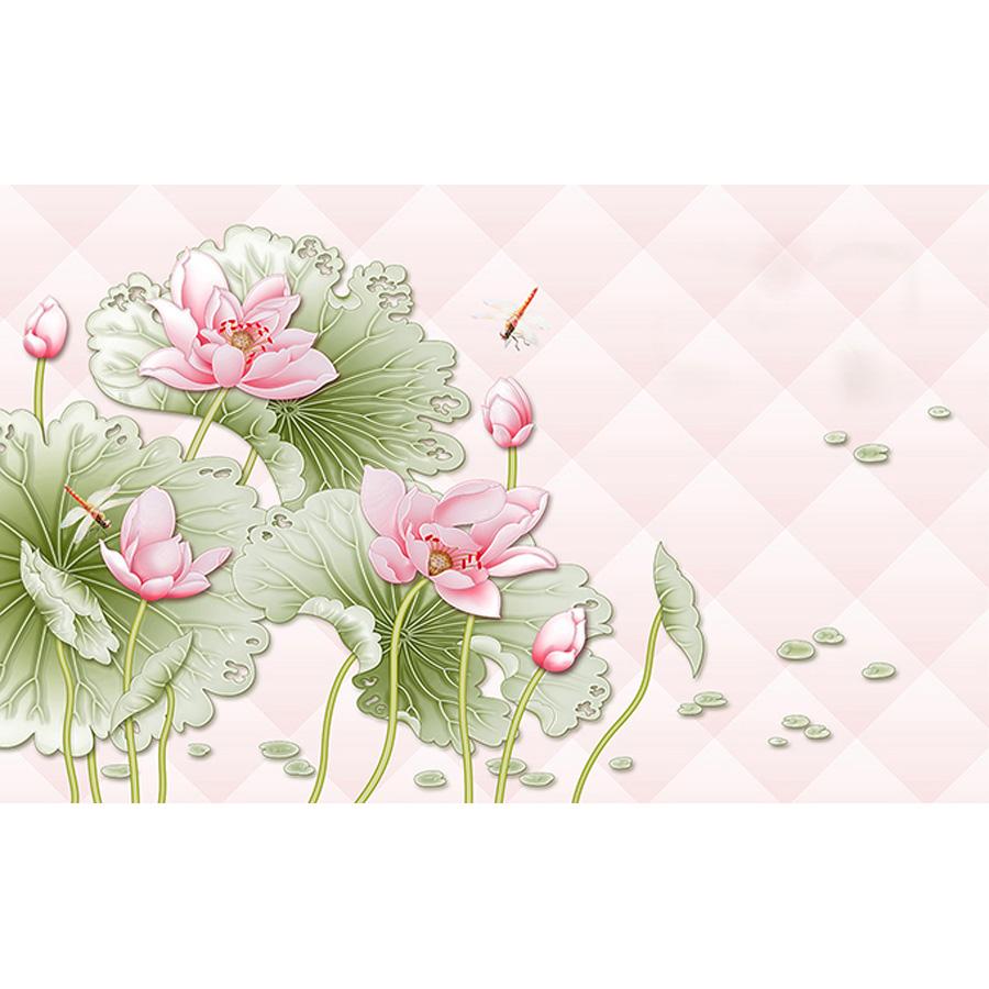 Tranh dán tường 3d | Tranh dán tường phong thủy hoa sen cá chép 3d 104