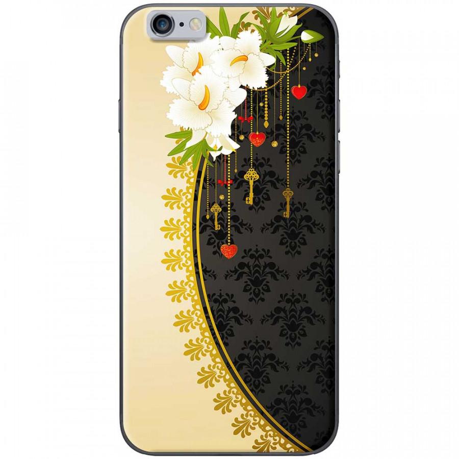 Ốp lưng dành cho iPhone 6, iPhone 6S mẫu Hoa trắng vàng đen