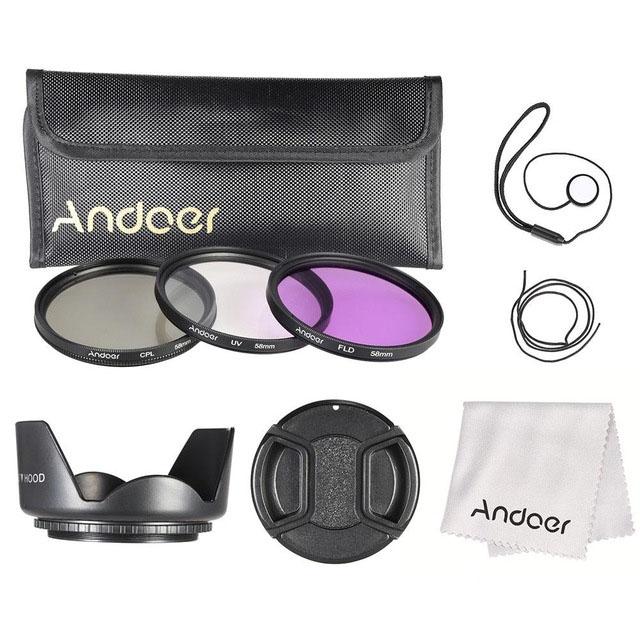 Bộ Kit Kính Lọc Và Phụ Kiện Andoer (58mm)