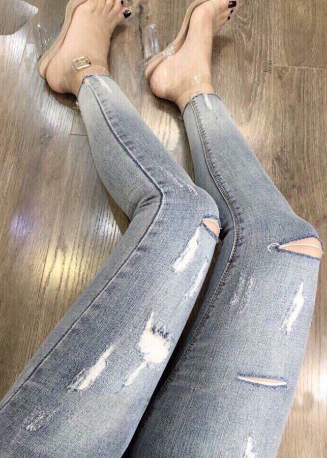 Quần jean dài nữ phối cắt rách -cào - B122