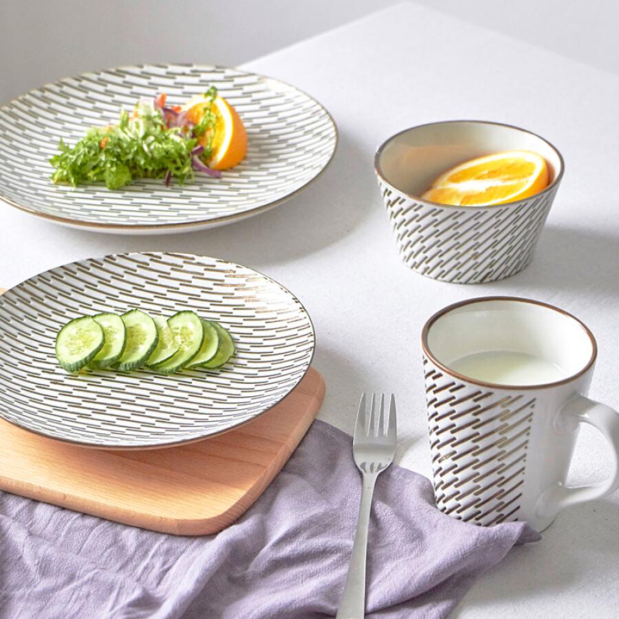 Jie Yajie ceramic tableware set home European dish set 4 piece set underglaze mesh American ceramic tableware set weaving