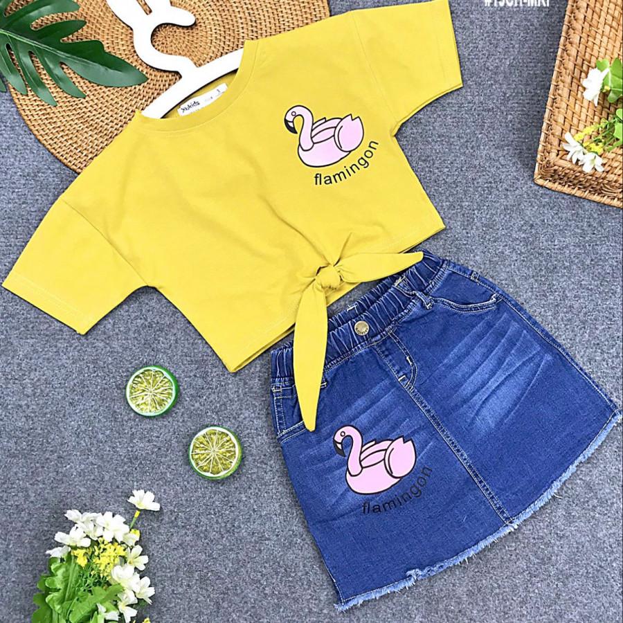 Set chân váy jeans và áo thun