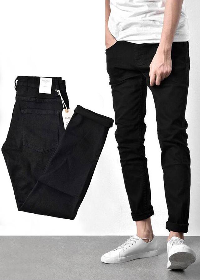 Quần jean nam đen trơn Skinny jean thun co giãn hàng xuất Hàn Quốc thương hiệu thời trang nam Routine