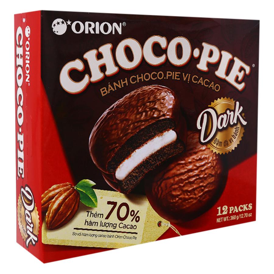 Bánh Orion Chocopie Dark vị Cacao hộp 360g (12 Cái) - 1056139 , 8936036025170 , 62_3492297 , 60000 , Banh-Orion-Chocopie-Dark-vi-Cacao-hop-360g-12-Cai-62_3492297 , tiki.vn , Bánh Orion Chocopie Dark vị Cacao hộp 360g (12 Cái)