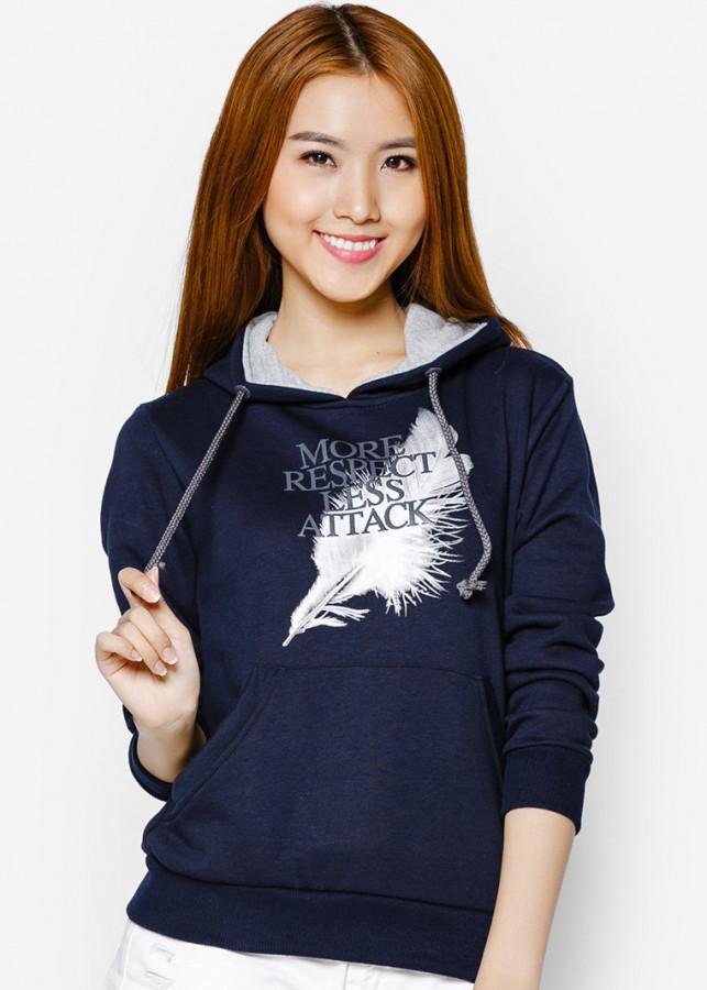 Áo khoác nữ cổ chui hoodie Phúc An màu xanh