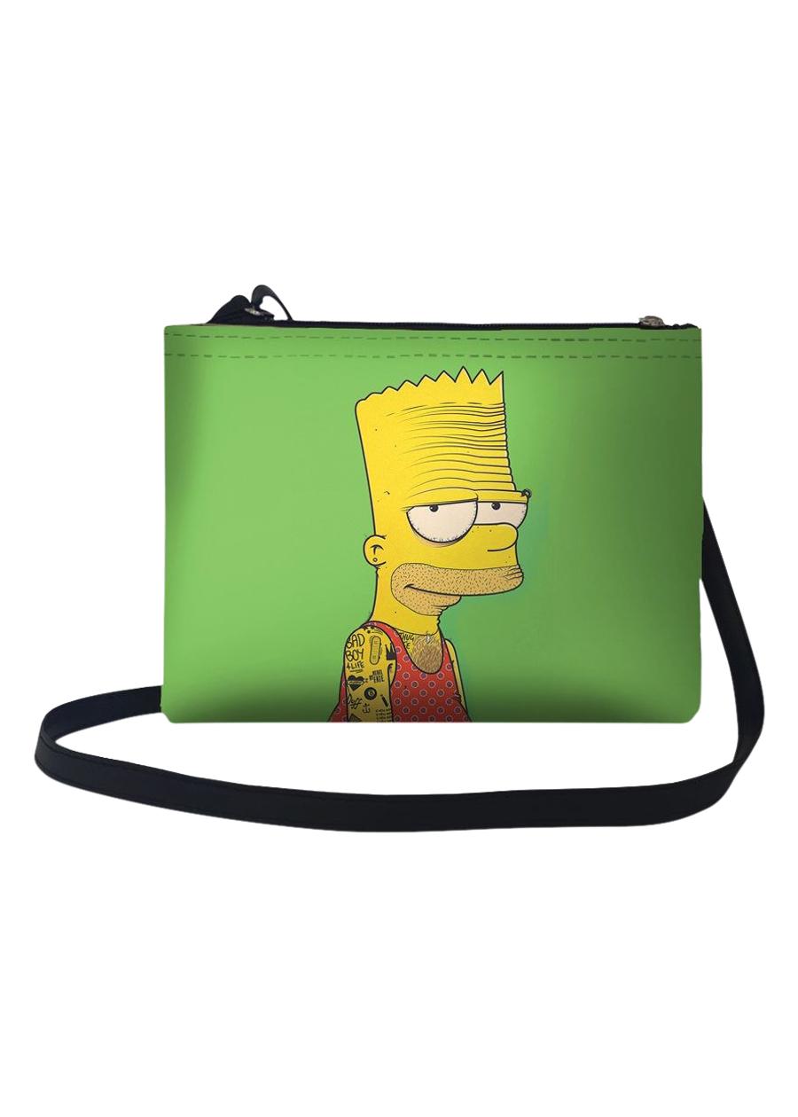 Túi Đeo Chéo Nữ In Hình Simpsons Nền Xanh TUFF087