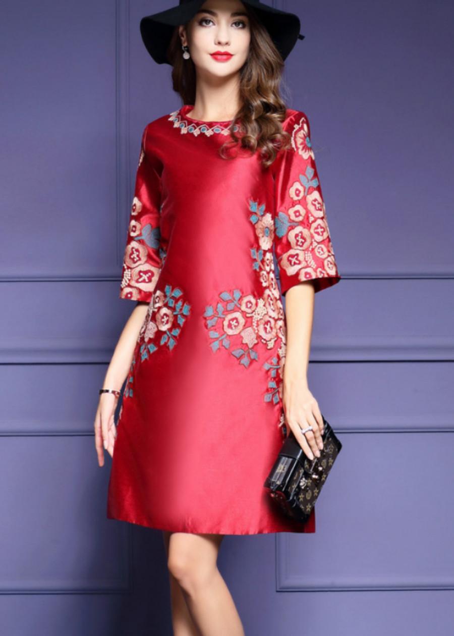 Đầm suông trung niên sang trọng có tay thêu họa tiết có đủ size cho người từ 40-70kg D265