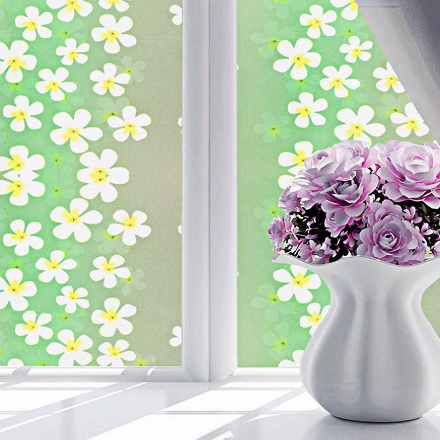 3m decal dán kính ngang 60cm- hoa xanh trắng